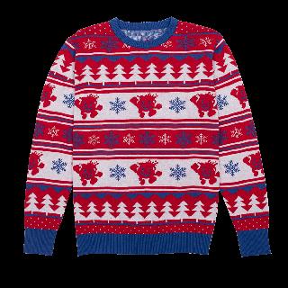 Kool-Aid brand retro holiday sweater with snowflake, tree and Kool-Aid man pattern.